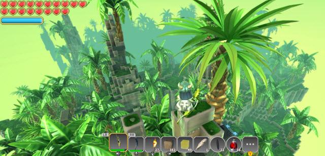 高台から島を見下ろす、ここはジャングルをテーマにした島だ